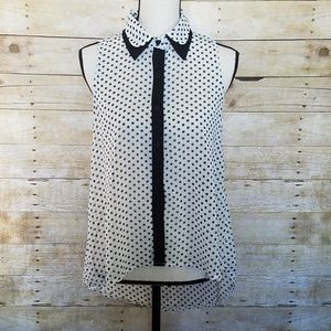 Sans Souci White and Black polka dot blouse Size S